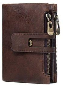 DIDE Genuine Leather Wallet Premium High Quality Men's Bi-folding, Multi Card Holder Zipper Side Coin Pouch (Dark Brown)