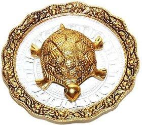 Metalcrafts Turtle in plate, chinese vastu, 15 cm