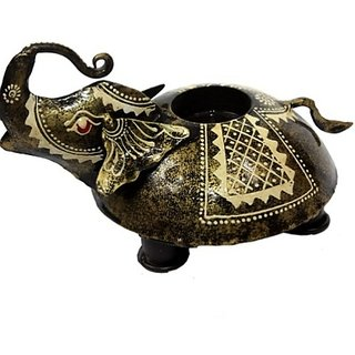 Metalcrafts Candle stand, elephant shape, hand painted, metallic, 15 cm