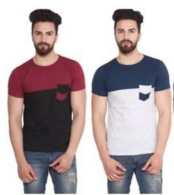 Stylatract Multicolor Cotton Blend Plain Round Neck Casual T-shirt For Men Pack of 2