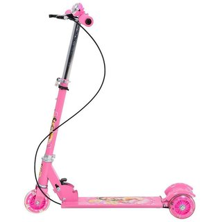 3-Wheel Height Adjustable Folding Kick Kids Scooty Scooter Toy pink with foot brake