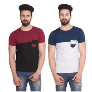Stylatract Colour Block Round Neck Half Sleeve T-shirt (Pack of 2)
