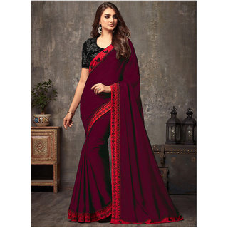bhavna creation's self made sana silk maroon saree with embroidered heavy blouse piece