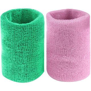 Neska Moda Unisex Green And Pink Pack Of 2 Cotton Wrist Band