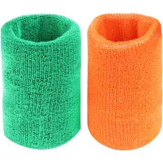 Neska Moda Unisex Green And Orange Pack Of 2 Cotton Wrist Band