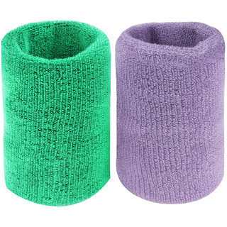 Neska Moda Unisex Green And Purple Pack Of 2 Cotton Wrist Band