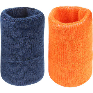Neska Moda Unisex Navy And Orange Pack Of 2 Cotton Wrist Band