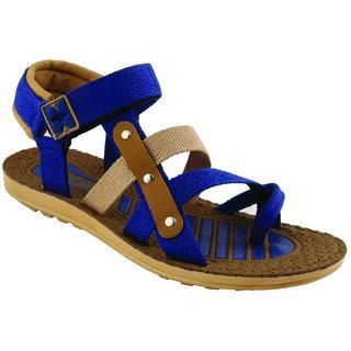 Birde Blue & Brown Rexine Sandal For Men