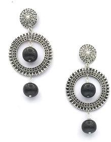 Oxidized Drop Bead Earring