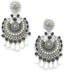 Oxidized Party wear Drop Beaded Earring