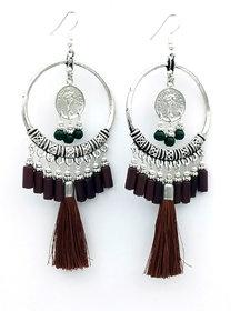 Long Tassel Glass Beads Party wear earring