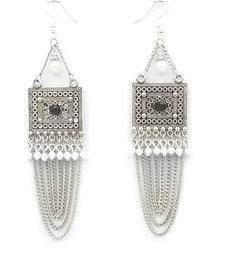 Oxidized Party Round Drop Chain Tassel Earring.