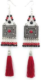 Oxidized Party wear Cotton Tassel Earring for Women.