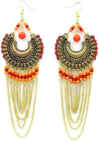 Oxidized Party wear Drop Round Chain Beaded Earring.