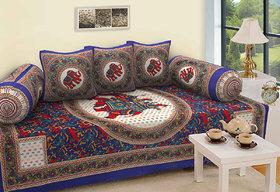 TEXSTYLERS 100 Cotton Printed Diwan Set(6 Pcs)Multicolor