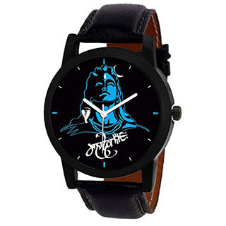 Wake Wood Casual Analog Synthetic Quartz Black Round Watch For Men