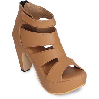 Funku Fashion Women's Gladiator Tan Color Block Heel