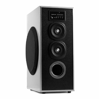 OBAGE MT-600 Single Tower Speaker System (Silver) with Bluetooth USB  Aux  FM  MMC
