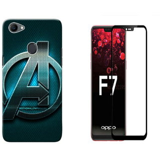 discount sale 0c0bb 6bc23 Oppo F7 Avengers Logo Mobile Back Cover With 5D Glass Combo Deal Standard  Quality