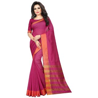 Florence Pink Cotton Silk Printed Saree with Blouse