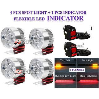 Eshopglee  Fog LED Light 4 Pcs FOG Driving Fog Spot Light + 2 Switch +1 Pcs Tail Light / Indicator / Brake Light With Turn Signal Combination