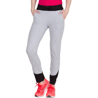 Haoser Solid Grey Colour Cotton  Stylish Track Pants For Womens