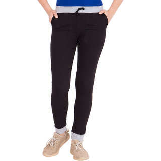 Haoser Solid Cotton  Black Trackpant  For Womens