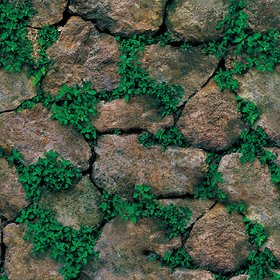 Jaamso Royals Brick Stone with Green grass - Stone Peel and Stick Wallpaper - Self Adhesive Wallpaper - Easily Removable Wallpaper - Use as Wall Paper, Contact Paper, or Shelf Paper(45 X 100 CM)