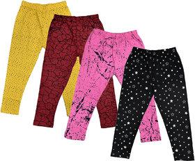IndiWeaves Girls Combo Pack of Cotton Printed Capri (Pack of 4)