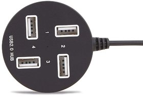 Techon 4 Port USB Hub for Laptop, PC, Multi USB Port, High Speed Round Shape Color May Vary (Black or White)