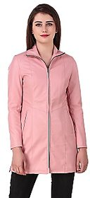 Leather Retail Pink colour   Faux Leather Long Jacket for Womans