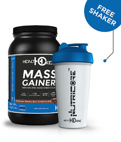 HealthOxide Mass Weight Gainer (27 g protein) with Stevia  1 kg (Delicious double Rich Chocolate) with free shaker