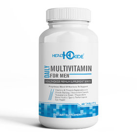 HealthOxide Multivitamins for Men with 54 total nutrients for daily health and body building  60 Veg Tablets