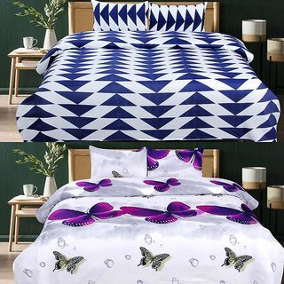 Trendz Home Furnishing Cotton 2 Double Bedsheet Combo with 4 Pillow Covers (Purple & White)