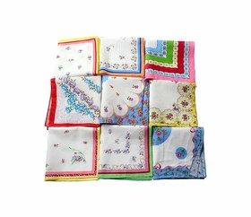 12 Pcs. Ladies Multicolour Handkerchiefs