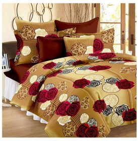 Weave Well Polycotton 3D Printed 1 Double Bedsheet With 2 Pillow Set Covers Multicolor