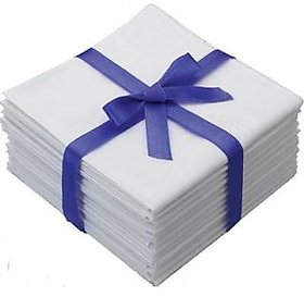 12 Pcs. White Handkerchiefs