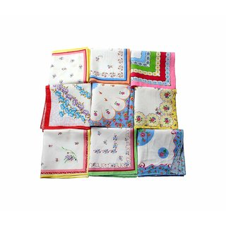 12 Pcs. Ladies Multicolour Handkerchiefs