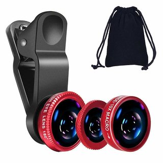 KSJ 3 in 1 Cell Phone Camera Lens Kit -Fish Eye Lens, 2 in 1 Macro Lens & Wide Angle Lens Compatible for Android/iOS (assorted colours)