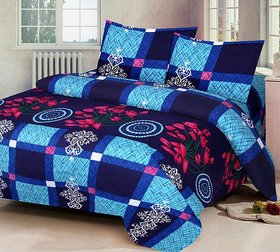 150TC polycotton double bedsheet with 2 pillow cover