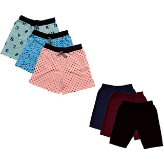 IndiWeaves Women Cotton Cycling Shorts and Printed Shorts (Pack of 6)