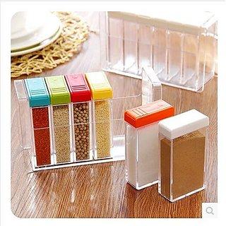 Crystal CONDIMENT BOX SEASONING BOX SET PEPPER SALT SPICE RACK Plastic 6 Masala Box Kitchen See Through Storage Containe