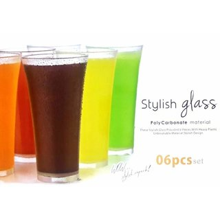 Premium Quality unbreakable Stylish Transparent Glass of 250 ML Set of 6 Pieces.