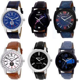 DCH Pack of 6 Stylish Designer Wrist Watch For Boys  Men