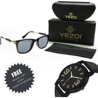 Yezdi Black Wayfarer Unisex Sunglass with UV 400 Lens With Free Wake Wood Watch