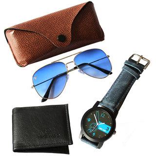Adam Jones Gradient Blue UV Protected Unisex Aviator Sunglasses with free + Wallet + Watch