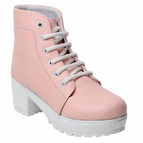 Maysun High Ankle Comfortable Synthetic Leather Pink Shoes for Girls  Women