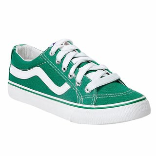 F-3 Women's Green Lace-up Casual Canvas Shoes