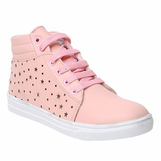 Maysun Pink Comfortable & Fashionable Mid Ankle Sneakers Shoes for Women and Girls
