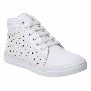 Maysun White Comfortable & Fashionable Mid Ankle Sneakers Shoes for Women and Girls